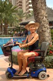 Madge Harvey from Benidorm on a mobility scooter