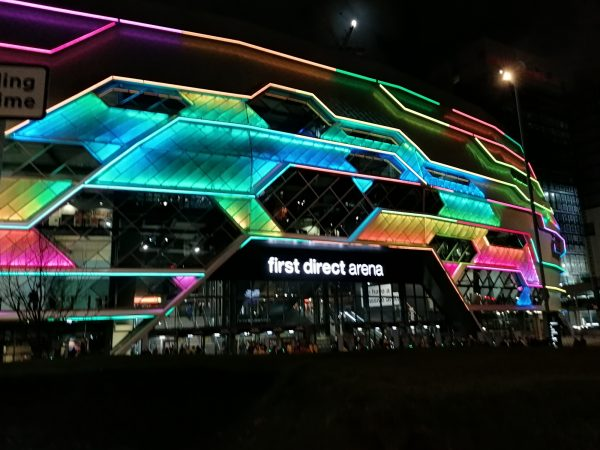Front of Leeds First Direct Arena after Shed Seven