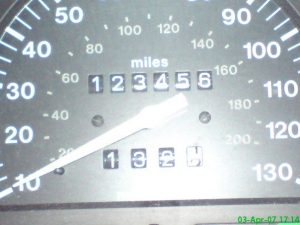 Car mileage shows 123456