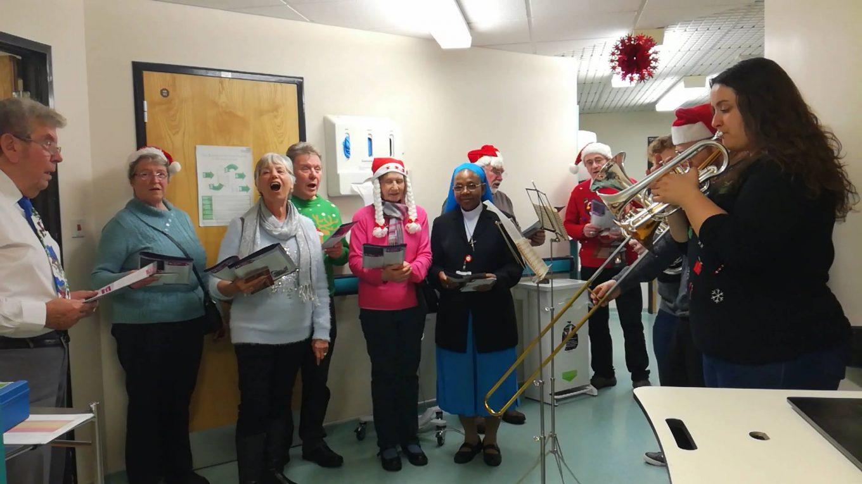 Christmas carol singers in hospital