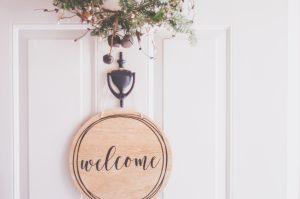 Welcome Home Sign on Door